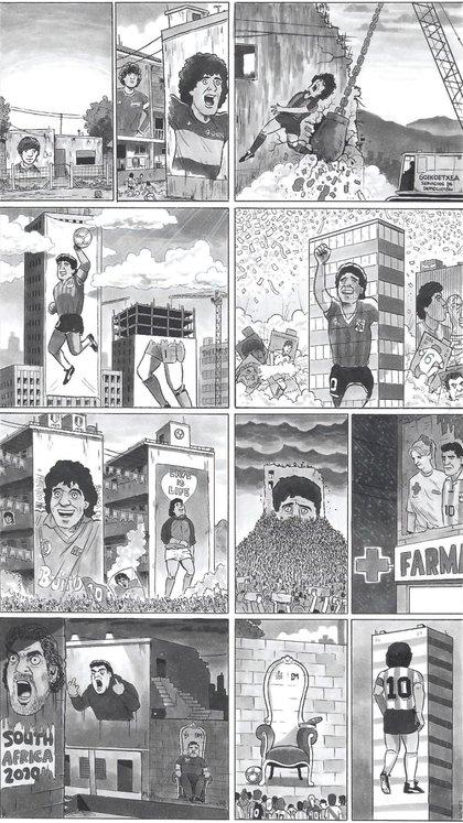 David Squires dibujó la vida de Diego Maradona para The Guardian (The Guardian)