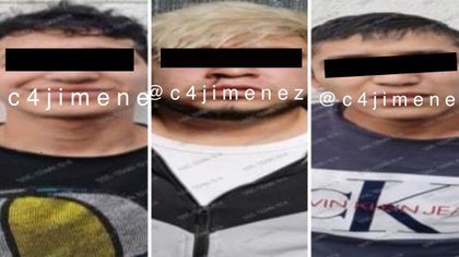 """Los arrestados fueron identificados como Brayan """"N"""", Carlos """"N"""", y Noe """"N"""" (Foto: Twitter/@c4jimenez)"""