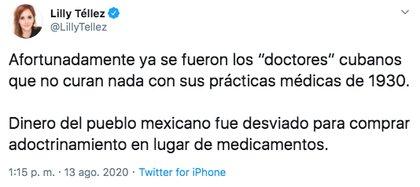 """La senadora panista señaló un """"adoctrinamiento"""" por parte del gobierno mediante la contratación del personal médico cubano (Foto: Twitter)"""