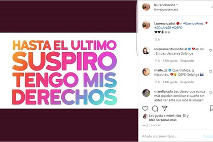 El posteo en Instagram de Laurencio Adot por Solange