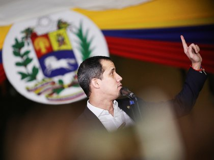Venezuela's opposition leader Juan Guaido, who many nations have recognized as the country's rightful interim ruler, speaks at a gathering in Caracas, Venezuela February 11, 2020. REUTERS/Manaure Quintero