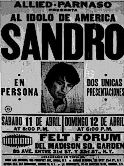 El afiche de promoción de Sandro en el Madison Square Garden