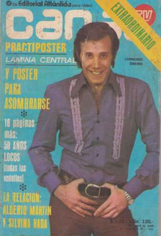 """Leonardo Simons en la tapa de la revista """"Canal TV"""", en 1971. Decía que no se creía lindo. """"Buen mozo es Repetto o Andino. Yo soy un Técnico Mecánico que estudió Locución. Y nada más"""""""