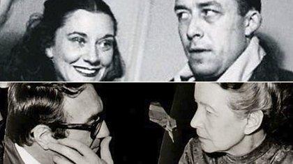 Albert Camus junto a María Casares y Simone De Beauvoir, con Claude Lanzmann