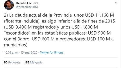 Uno de los tuits de Lacunza