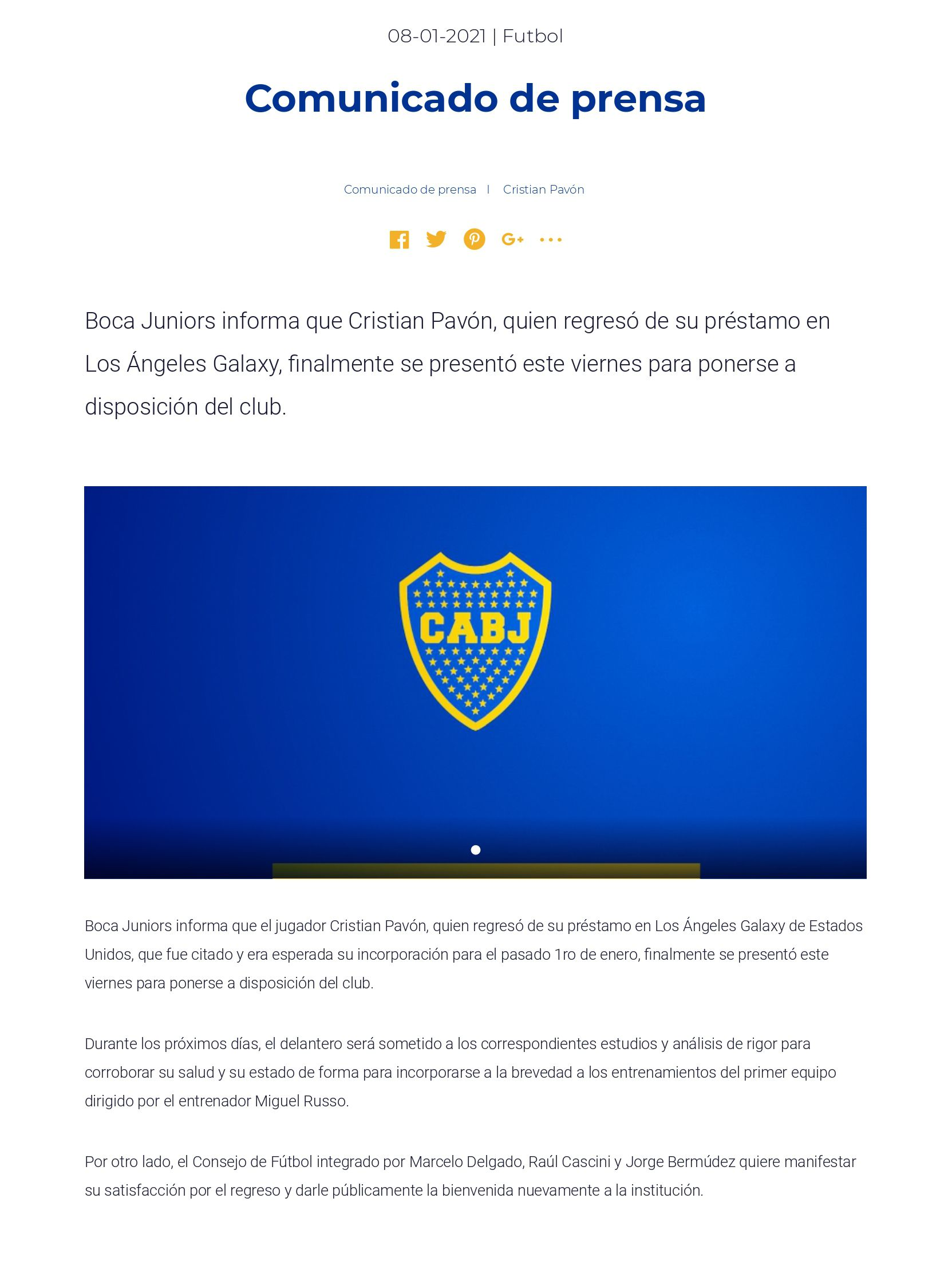 Comunicado de Boca sobre Cristian Pavón
