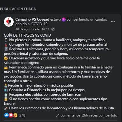 Los 11 pasos del ingeniero resumidos en una publicación que realizó vía Facebook (Foto: Captura de pantalla)