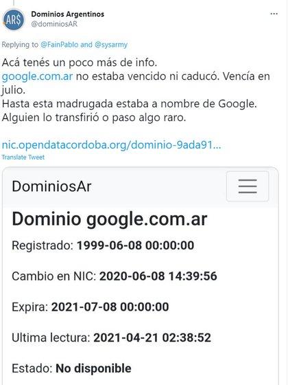 Otra captura de pantalla que circuló por estas horas de la web nic.ar indicaba que el dominio expirará recién el próximo 8 de julio