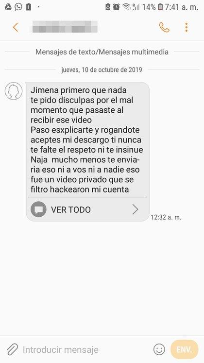 Ayer al mediodía, N. le envió este mensaje de texto desde otro número de celular