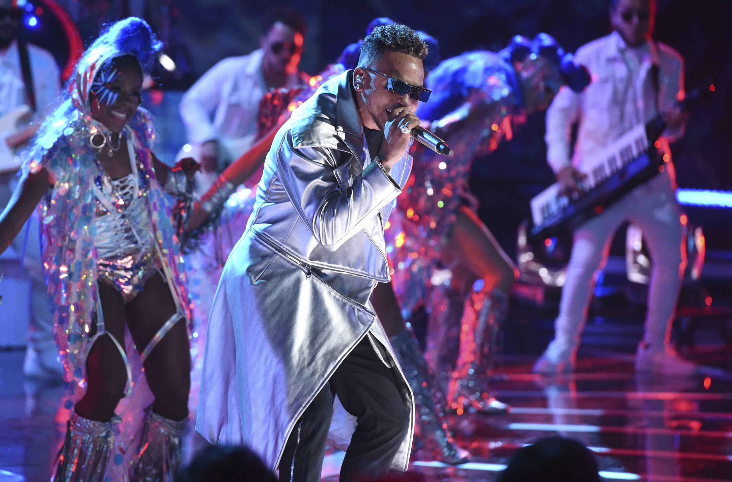 FILE - Ozuna performs at the Latin American Music Awards in Los Angeles on Oct. 17, 2019. Ozuna received eight nominations at the 2020 Latin Grammys, which will air live on Nov. 19 on Univision. (Photo by Chris Pizzello/Invision/AP, File)