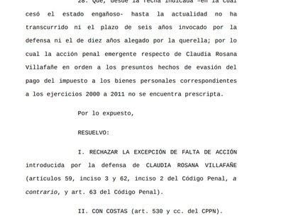 Fragmento perteneciente a la resolución del Juzgado en contra de Claudia Villafañe