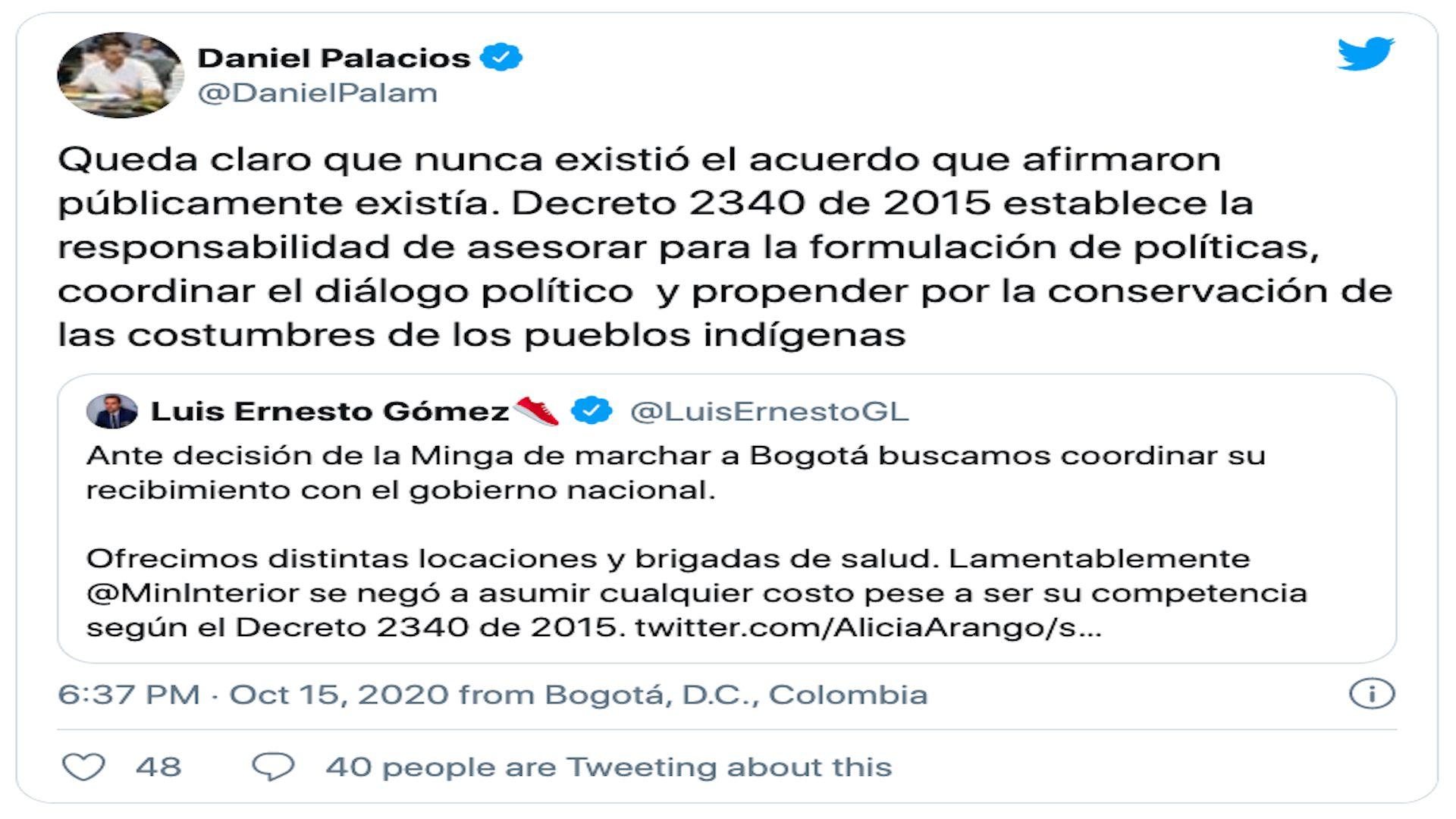 Daniel Palacios, Viceministro de Interior / (Twitter: @DanielPalam).