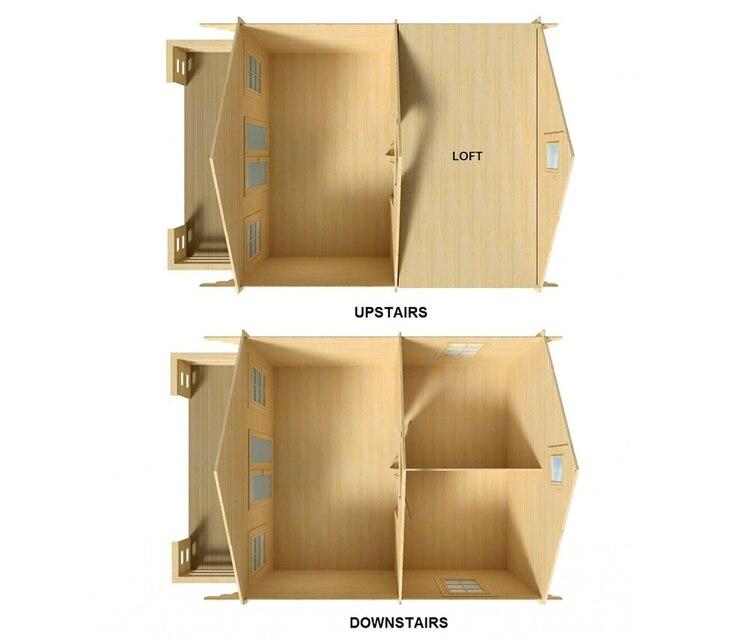 La compañía sugiere que la construcción de la cabaña puede tomar tan solo dos días con dos personas trabajando