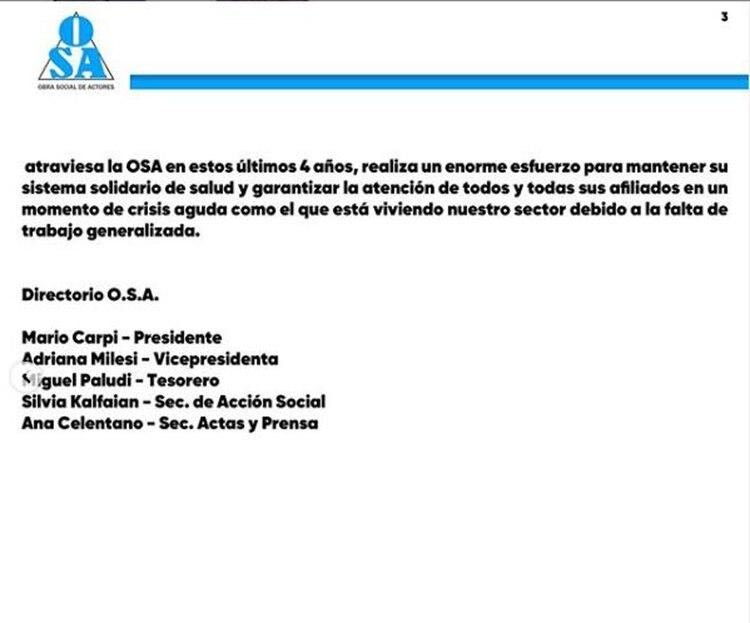 En el comunicado de prensa, la OSA señala que los hijos de Tristán no devolvieron los elementos otorgados bajo comodato