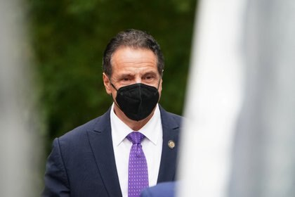 Governor of New York Andrew Cuomo arrives at the unveiling for the Mother Cabrini statue in the Manhattan borough of New York City, New York, U.S., October 12, 2020. REUTERS/Carlo Allegri