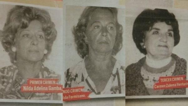 Las víctimas de Yiya Murano: Nilda Gamba, Lelia Formisano de Ayala y Carmen Zulema del Giorgio Venturini