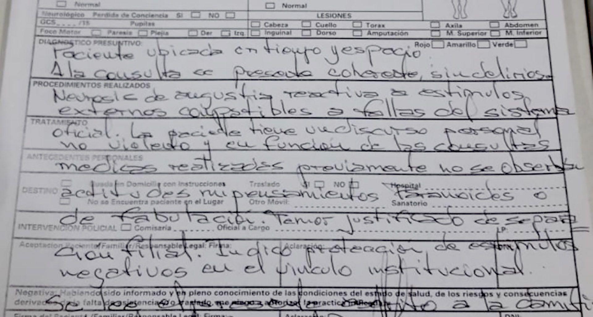 El informe prehospitalario de Miriam elaborado por el SAME.