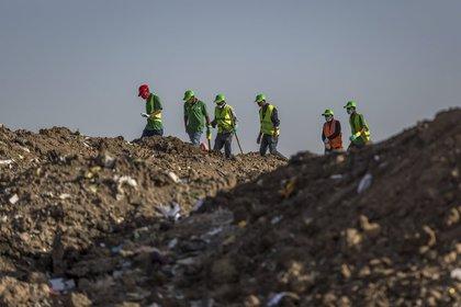 Trabajadores recolectan ropa y otros materiales, bajo la instrucción de los investigadores, en el lugar en Etiopía donde se desplomó el Boeing 737 Max 8 (Foto: AP)