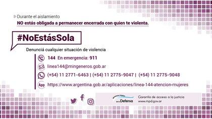 Las víctimas de violencia de género pueden comunicarse al 144 para pedir ayuda.