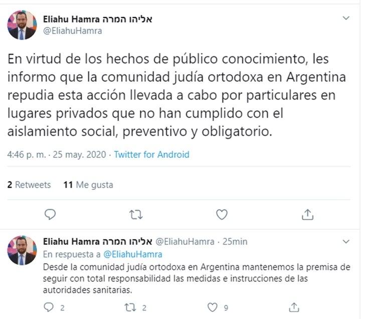 Eliahu Hamra, presidente de la Federación de Comunidades Israelitas Argentinas, se manifestó en contra de lo sucedido.