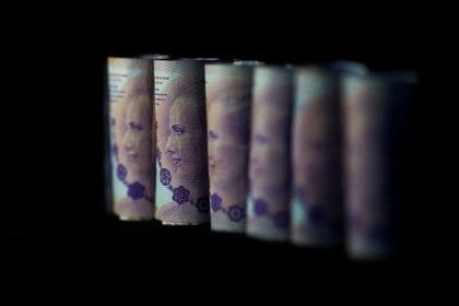 Billetes de cien pesos argentinos se muestran en la ilustración . Foto de archivo 3 de sep 2019. REUTERS/Agustin Marcarian/Illustration/File Photo