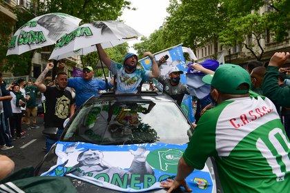 La movilización de Camioneros en Plaza de Mayo. (Maximiliano Luna)