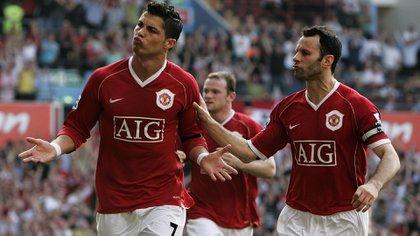 Ryan Giggs y Cristiano Ronaldo cuando eran compañeros en el Manchester United