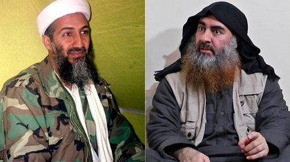 Osama Bin Laden, antiguo líder de Al Qaeda, y Abu Bakr al-Baghdadi, autoproclamado califa del Estado Islámico