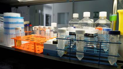 Lab equipment and sample vials are seen at Sorrento Therapeutics where efforts are underway to develop an antibody, STI-1499, to help in prevention of the coronavirus disease (COVID-19) in San Diego, California, U.S., May 22, 2020. REUTERS/Bing Guan