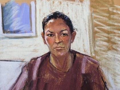 Ghislaine Maxwell aparece a través de un enlace de video durante su audiencia de comparecencia, donde se le negó la fianza por ayudar a Jeffrey Epstein a reclutar y eventualmente abusar de niñas menores, en el Tribunal Federal de Manhattan, Nueva York (Reuters)