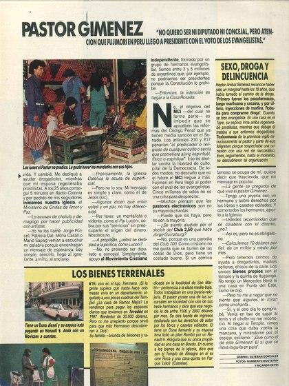 Los medios de la época reflejaban el fenómeno popular del Pastor Giménez, que movilizaba multitudes a fines de los '80 y principios de los '90 (Revista Gente – Gentileza del archivo Tea y Deportea)
