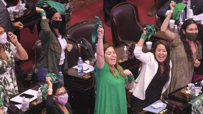 """El festejo de varias diputadas del sector """"verde"""" tras la media sanción del viernes (Telam)"""