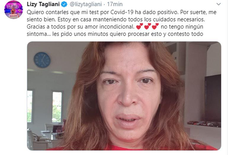El mensaje de Lizy Tagliani contando que le dio positivo el test de Coronavirus