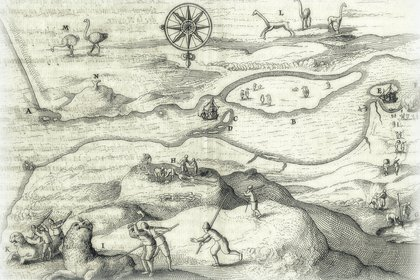 El mapa de Jacob Le Maire, con la H que indica la tumba de gigantes