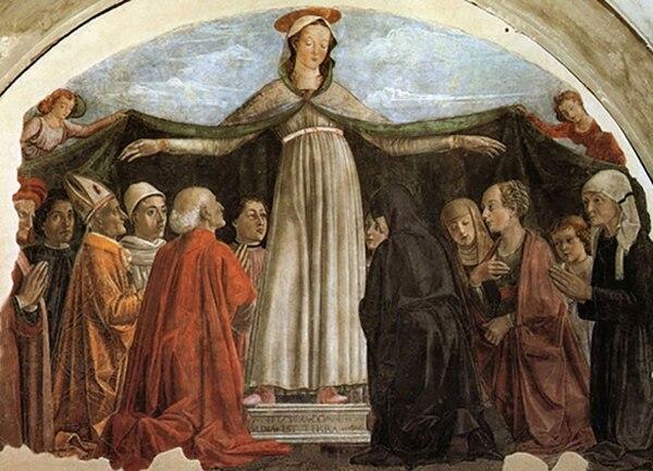 Fresco de Domenico Ghirlandaio (c.1472), iglesia Ognissanti, Florencia, en el que está representada la familia Vespucci. Americo es el joven ubicado entre el anciano de túnica roja y la Virgen