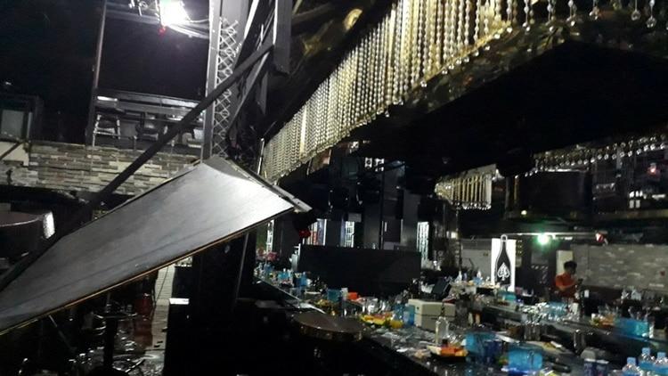La estructura que colapsó en el bar nocturno de Gwangju, Corea del Sur (Reuters)