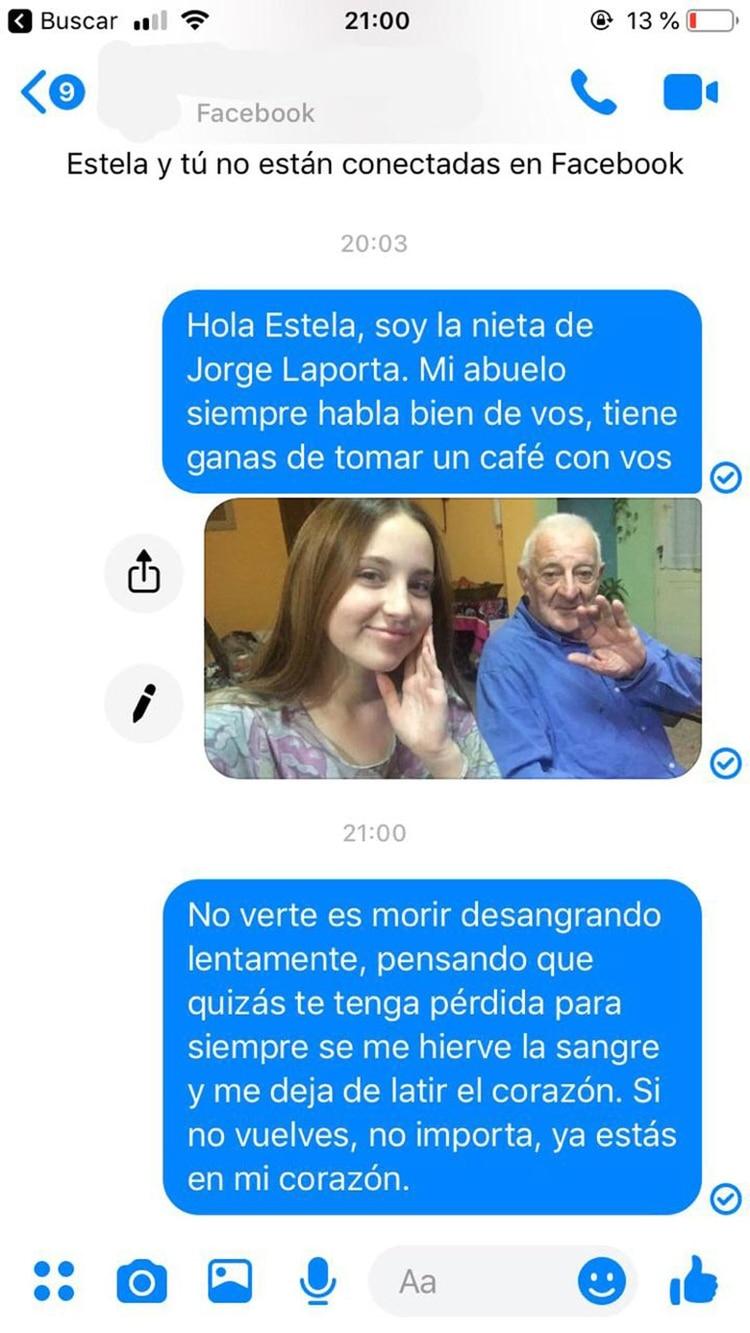 El posteo con el mensaje de Yuli para la primera novia de su abuelo y el poema que escribió Jorge para Teresita (@YuliAnacondio)