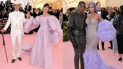 Benedict Cumberbatch y Sophie Hunter, a full con el satinado. Travis Scott le puso actitud al look sirena de Kylie Jenner