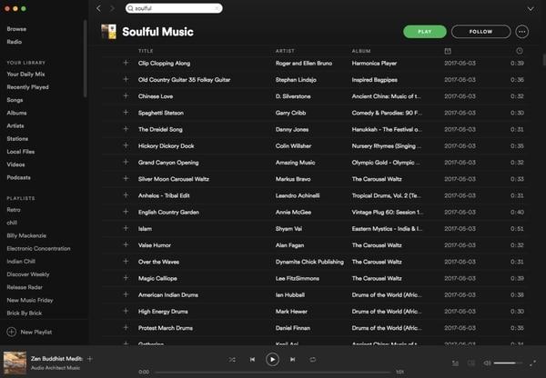 La playlist Soulful Music, antes de ser dada de baja