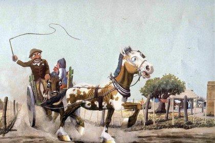 Litografía de Molina Campos perteneciente a los afamados almanaques de Alpargatas