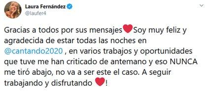 El mensaje de Laurita Fernández en Twitter
