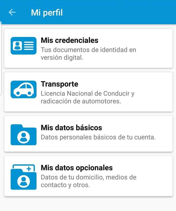 """La licencia de conducir digital se verá dentro de la opción """"Mis credenciales"""" que está en """"Mi perfil""""."""