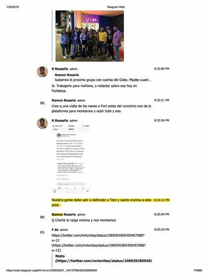 Captura de algunos de los mensajes de Telegram filtrados