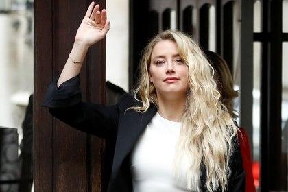Amber Heard este lunes en los tribunales de Londres (REUTERS)