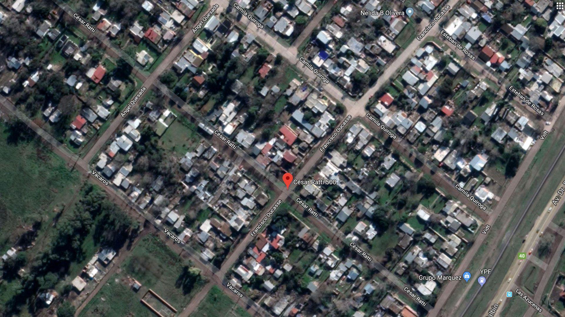 La vivienda familiar estaba ubicada en la calle César Ratti al 500 de Mariano Acosta