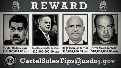 Maduro y otros integrantes de su equipo fueron acusados por EEUU por narcoterrorismo y de pertenecer al cártel de los Soles (Foto: archivo)
