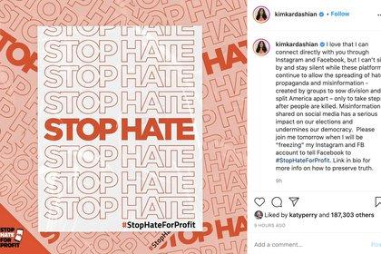 Stop The Hate Kim Kardashian (Foto: Captura de Pantalla)