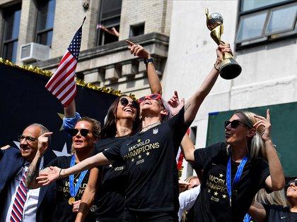 Los festejos de la selección femenina de fútbol (AFP)