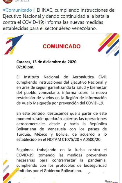El anuncio del Instituto de Aeronáutica Civil