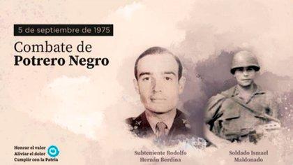 El subteniente Berdina y el Soldado Maldonado, muertos en el combate de Potrero Negro en 1975 en Tucumán. El Ejército los recordó con un tuit, que luego borró